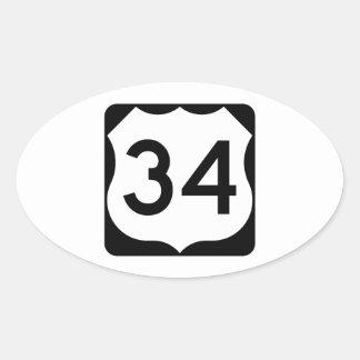 Muestra de la ruta 34 de los E.E.U.U. Pegatina Ovalada