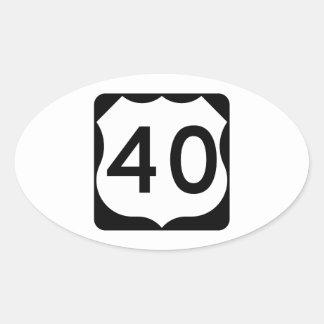 Muestra de la ruta 40 de los E.E.U.U. Pegatina Ovalada