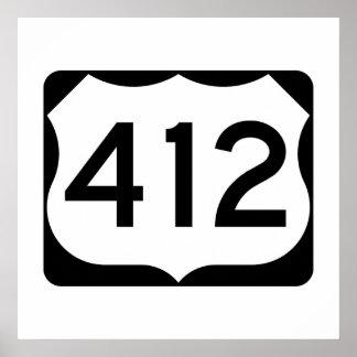 Muestra de la ruta 412 de los E.E.U.U. Póster