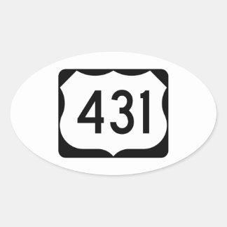 Muestra de la ruta 431 de los E.E.U.U. Pegatina Ovalada