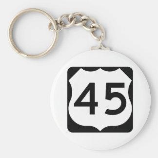Muestra de la ruta 45 de los E.E.U.U. Llavero Redondo Tipo Pin