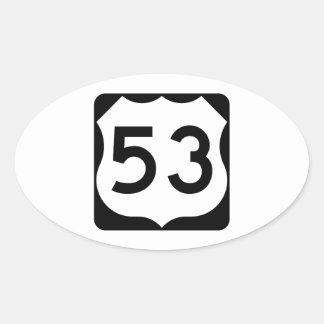 Muestra de la ruta 53 de los E.E.U.U. Pegatina Ovalada