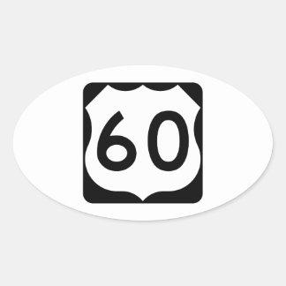 Muestra de la ruta 60 de los E.E.U.U. Pegatina Ovalada