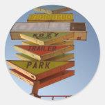 Muestra de la ruta 66 de los años 50 del vintage etiquetas redondas