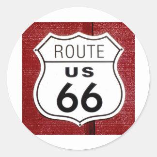 Muestra de la ruta 66 pegatina redonda