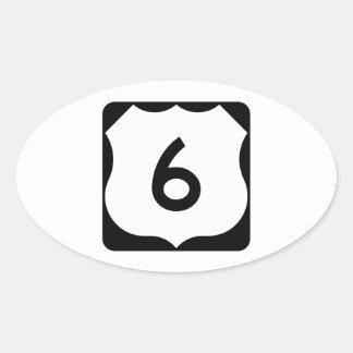 Muestra de la ruta 6 de los E.E.U.U. Pegatina Ovalada