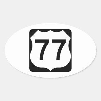 Muestra de la ruta 77 de los E.E.U.U. Pegatina Ovalada