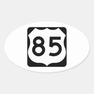 Muestra de la ruta 85 de los E.E.U.U. Pegatina Ovalada