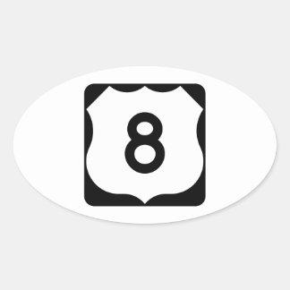 Muestra de la ruta 8 de los E.E.U.U. Pegatina Ovalada