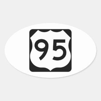 Muestra de la ruta 95 de los E.E.U.U. Pegatina Ovalada