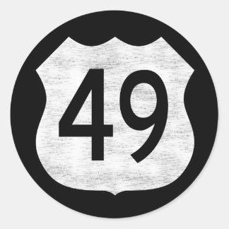 Muestra de la ruta de la carretera 49 pegatina redonda