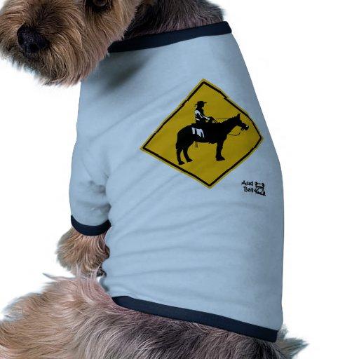 Muestra de la travesía de camino del vaquero camiseta con mangas para perro