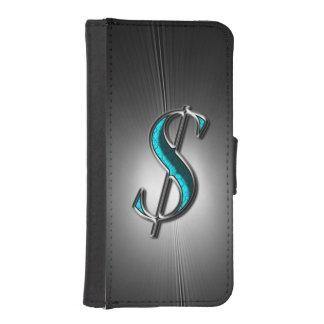 Muestra de la turquesa y de dólar de plata impresa fundas tipo billetera para iPhone 5