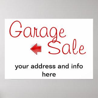 muestra de la venta de garaje póster
