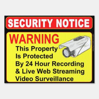 Muestra de la vigilancia del aviso de la SEGURIDAD Señales