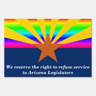 Muestra de la yarda de la protesta de Arizona Señales
