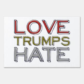 Muestra de la yarda del odio de los triunfos del letreros