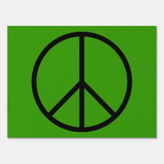 Muestra de la yarda del signo de la paz letreros