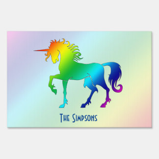 Muestra de la yarda del unicornio del arco iris letreros
