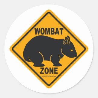 Muestra de la zona de Wombat Pegatina Redonda