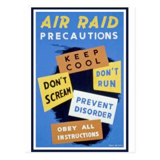 Muestra de las precauciones del ataque aéreo postales