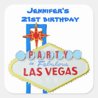 Muestra de Las Vegas de la invitación de la fiesta Pegatina Cuadrada