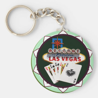 Muestra de Las Vegas y ficha de póker de las Llavero Redondo Tipo Pin