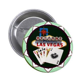Muestra de Las Vegas y ficha de póker de las Pin Redondo De 2 Pulgadas