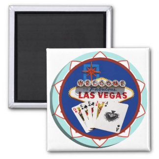 Muestra de Las Vegas y ficha de póker de las tarje Imán Cuadrado