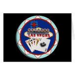 Muestra de Las Vegas y ficha de póker de las tarje Tarjetas