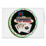 Muestra de Las Vegas y ficha de póker de las tarje Tarjeta