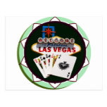 Muestra de Las Vegas y ficha de póker de las tarje Tarjetas Postales