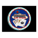 Muestra de Las Vegas y ficha de póker de las tarje Postal
