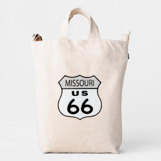 Muestra de los E.E.U.U. 66 de la ruta de Missouri Bolsa De Lona Duck