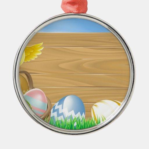 Muestra de los huevos de Pascua Adorno Redondo Plateado