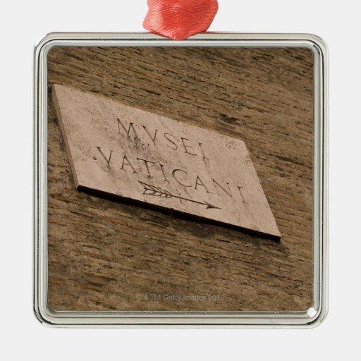 Muestra de los museos de Vatican, Roma, Italia Adorno Cuadrado Plateado