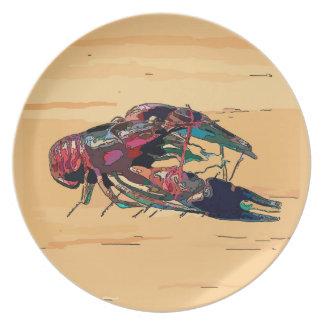 Muestra de madera de la mirada de los cangrejos de platos