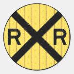 Muestra de madera de la travesía de ferrocarril etiqueta redonda