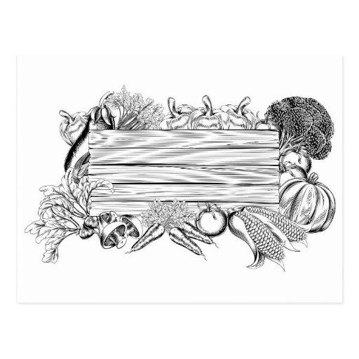 Muestra de madera vegetal del jardín fresco tarjeta postal