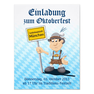 """Muestra de Munich del hombre de los Lederhosen de Invitación 4.25"""" X 5.5"""""""