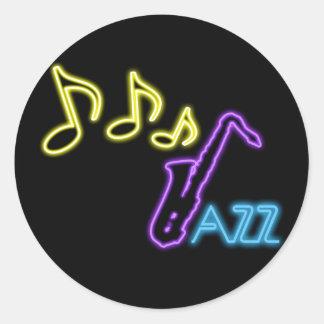 Muestra de neón de la barra del jazz etiqueta redonda