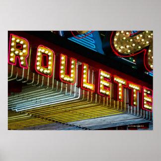 Muestra de neón de la ruleta en el casino, Las Veg Póster