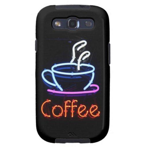 Muestra de neón del café en negro galaxy SIII cárcasa
