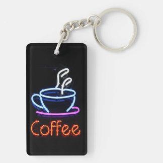 Muestra de neón del café en negro llavero rectangular acrílico a doble cara