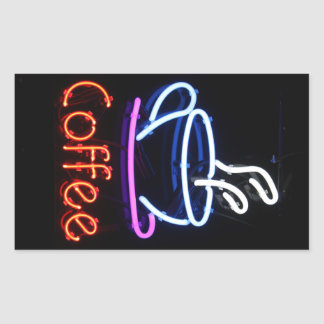 Muestra de neón del café en negro rectangular pegatina