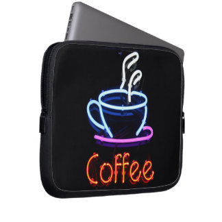 Muestra de neón del café funda ordendadores