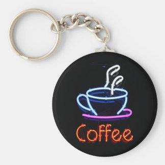 Muestra de neón del café llavero redondo tipo pin