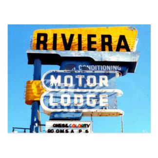Muestra de neón del motel del vintage retro tarjetas postales