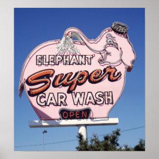 Muestra de neón del túnel de lavado del elefante póster