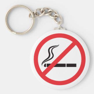 Muestra de no fumadores con símbolo negro del ciga llavero redondo tipo pin